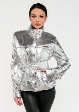 Женская демисезонная куртка цвет серебряный