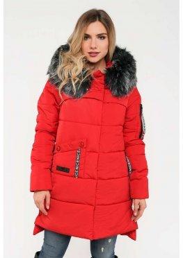 Женская зимняя куртка с мехом красного цвета