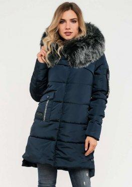 Женская зимняя куртка с мехом синего цвета