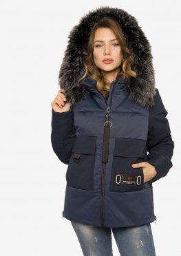 Зимняя женская куртка с мехом синий