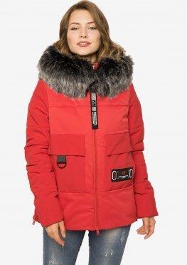 Зимняя женская куртка с мехом красный