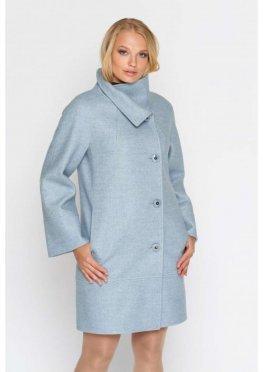 Пальто Жасмин, деми, шерсть, светло - голубой