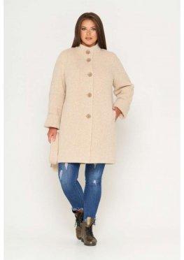 Пальто Шарлотта, зима, твид, светло-бежевый