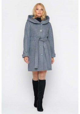 Пальто Марго, зима, шерсть, серо-голубой