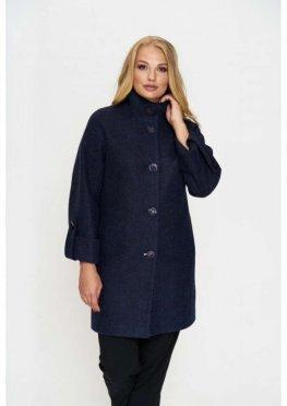 Пальто Шарлотта, деми, шерсть, тёмно - синий