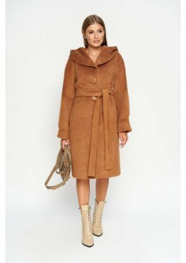 Женское Зимнее Пальто Лора с капюшоном Шерсть Camel