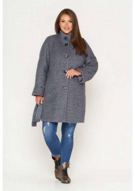 Пальто Шарлотта, зима, букле, серый