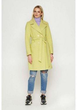 Пальто Нонна, деми, клетка, лимонный