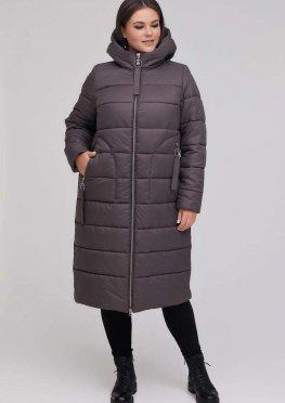 Длинное стеганное пальто мокко