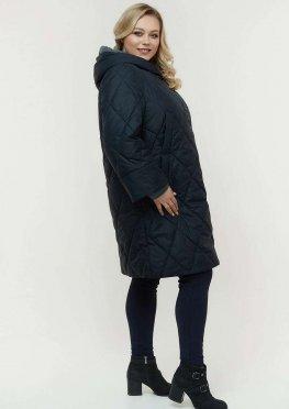 Удлиненная куртка темносиняя демисезон