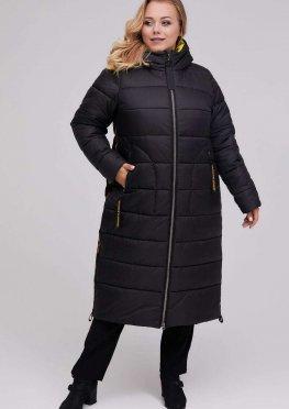 Длинное стеганное пальто зима