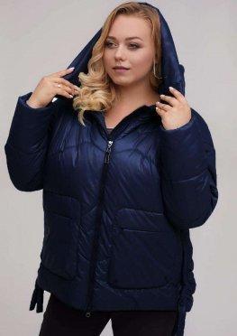 Стильная зимняя женская куртка синего цвета