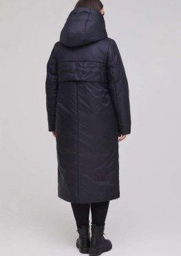 Длинное зимнее пальто темно-синее