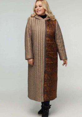 Длинное стеганое пальто капучино