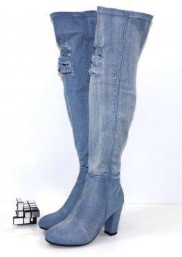 Голубые джинсовые ботфорты
