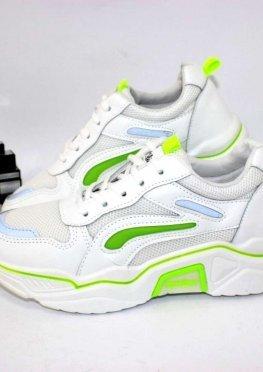 Классные молодёжные кроссовки белые с зеленым