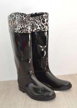 Стильные силиконовые сапоги чёрный леопард