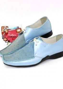Туфли кожаные голубые
