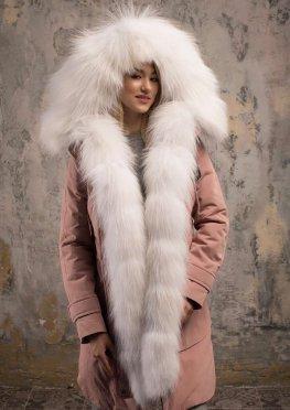 Парка  с мехом арктической лисы розовая пудра