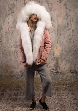 Парка с мехом арктической лисы розовая