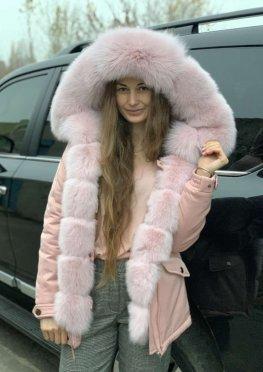Парка с мехом розовый песец розовая пудра