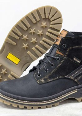 Зимние мужские Ботинки в стиле Тимберленд из натуральной матовой кожи черного цвета