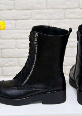 Высокие женские Ботинки-милитари на шнуровке из натуральной кожи черного цвета