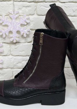 Высокие женские Ботинки на шнуровке из натуральной кожи флотар бордового цвета