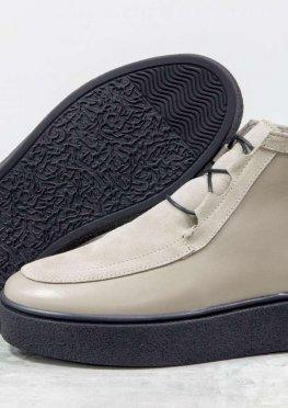 Стильные женские ботинки из натуральной кожи и замши песочного цвета