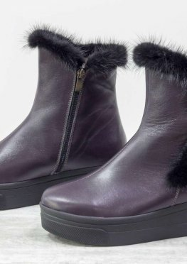 Классические высокие ботинки женские из натуральной кожи фиолетового цвета