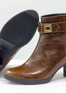 Ботинки для женщин на среднем каблуке, рыжего цвета