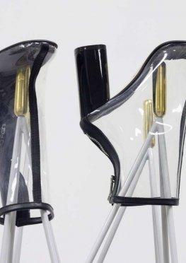 Дизайнерские ботинки из мягкого итальянского силикона и отделкой из натуральной черной кожи, на высоком глянцевом каблуке