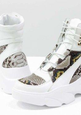Эксклюзивные женские белоснежные ботинки на шнуровке, из натуральной кожи белого цвета