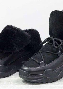Яркие женские ботинки, в стиле Moon Boot, из натуральной кожи, замши и меха овечки черного цвета