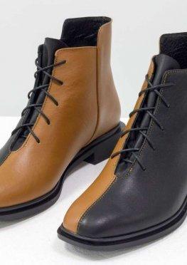 Уникальные дизайнерские ботинки табачного и черного цвета