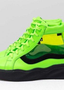 Дизайнерские прозрачные ботинки из натуральной неоновой кожи салатового и черного цвета