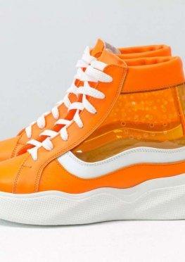 Дизайнерские прозрачные ботинки из натуральной неоновой кожи оранжевого и белого цвета