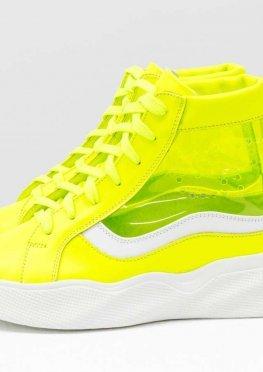 Дизайнерские прозрачные ботинки из натуральной неоновой кожи желтого и белого цвета