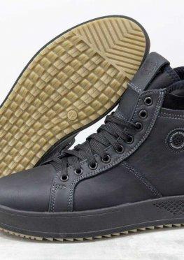 Стильные мужские зимние ботинки из натуральной матовой кожи черного цвета