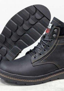 Зимние классические мужские ботинки из натуральной матовой кожи черного цвета