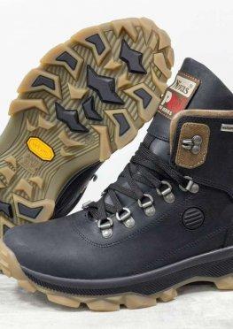 Зимние мужские Ботинки из натуральной матовой кожи черного и коричневого цвета