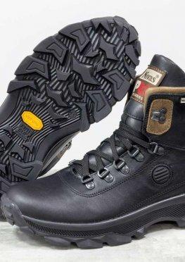 Зимние мужские Ботинки из натуральной кожи черного и коричневого цвета