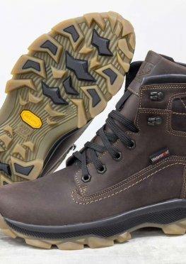 Зимние мужские Ботинки из натуральной матовой кожи коричневого цвета