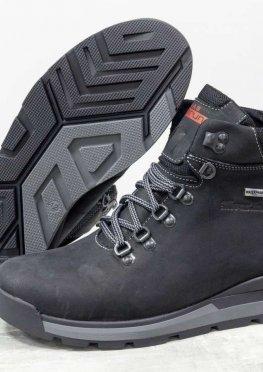 Зимние мужские Ботинки из натуральной матовой кожи черного цвета