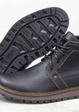 Зимние классические мужские ботинки из натуральной кожи флотар черного цвета