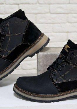 Зимние мужские Ботинки в стиле Тимберленд из натуральной кожи и замши черного цвета