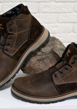Зимние мужские Ботинки в стиле Тимберленд из натуральной кожи и замши коричневого цвета