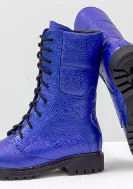 Ботинки из натуральной кожи флотар ярко-синего цвета