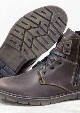 Зимние классические мужские ботинки из натуральной матовой кожи коричневого цвета