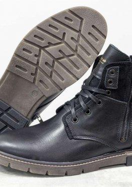 Зимние классические мужские ботинки из натуральной кожи черного цвета